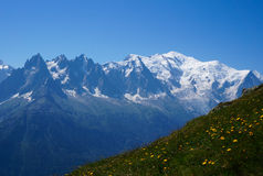 Beautiful mountain scenery - Mont Blanc. Beautiful mountain scenery, on the Tour of Mont Blanc, France Stock Images