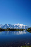 Mont Blanc reflecting in a lake with copy space. Beautiful mountain scenery, on the Tour of Mont Blanc, France Stock Photography