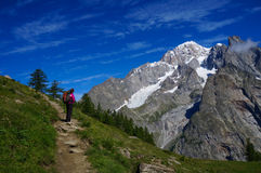 Hiker admiring the view Royalty Free Stock Photos