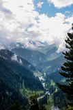 Beautiful mountain scenery ,woods, blue sky,White cloud. In Kashmir India Royalty Free Stock Image