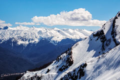 Beautiful mountain scenic landscape of the Main Caucasian ridge with snowy peaks at winter Royalty Free Stock Photography