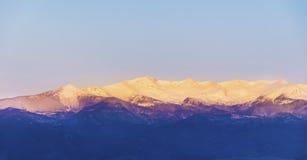 Beautiful  mountain snowy peak in the Rhodope Mountain.sunrise shoot Royalty Free Stock Photo