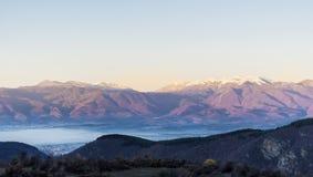 Beautiful  mountain snowy peak in the Rhodope Mountain.sunrise shoot Stock Photos