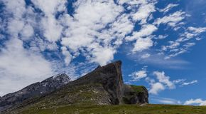 Part of high Gemmipass. Beautiful mountain in summer with snow, green meadow and blue sky in Switzerland. City of Leukerbad, canton Valais, high Gemmipass on royalty free stock photos