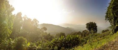 Beautiful mountain sunset panorama. Beautiful sun Royalty Free Stock Image