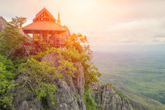 Beautiful Mountain Temple in Lampang. Beautiful Mountain Temple in Lampang, North of Thailand, Unseen in Thailand, Pagoda on Top of Rock Cliff royalty free stock image