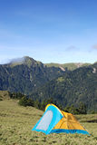 Beautiful mountain and tent royalty free stock photography
