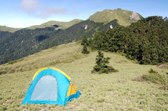 Beautiful mountain and tent Stock Images