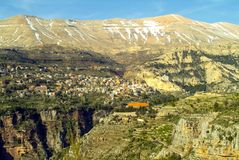 The beautiful mountain town of Bcharre in Lebanon royalty free stock image