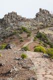 Beautiful mountain trail path near Pico do Arieiro on Madeira island, Portugal Royalty Free Stock Photos