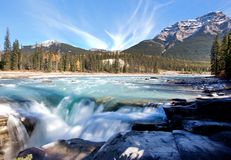 Slow flowing waterfall and mountain. Beautiful mountain and turquoise waterfall flowing at Athabasca Fall in Jasper National Park, Alberta stock images