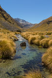 Beautiful mountain valley landscape with stream Stock Photos