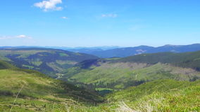 Beautiful mountain valley with shadows of running clouds. Svydovets range, Carpathians, West Ukraine stock video
