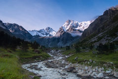 Beautiful mountain valley at sunrise Royalty Free Stock Image