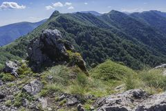 Beautiful mountain view from the entrances on the path to the Kozya Stena hut. The Troyan Balkan is exceptionally picturesque and. Offers a combination of royalty free stock photography