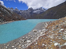 Beautiful mountain view of Everest Region with lake, Nepal. Royalty Free Stock Photography