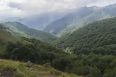 Beautiful mountain view from the hills on the path to the Eho hut. The Troyan Balkan is exceptionally picturesque. Beautiful mountain view from the hills on the stock images