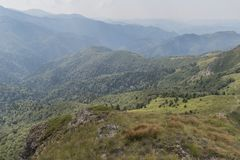 Beautiful mountain view from the hills on the path to the Eho hut. The Troyan Balkan is exceptionally picturesque and offers a. Combination of wonderful stock photo