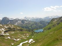 Beautiful mountains and lake view. Beautiful mountain & lake & snow view from Alps Stock Image