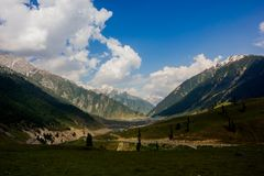 Beautiful mountain view of Sonamarg, Jammu and Kashmir state, India. A Beautiful mountain view of Sonamarg mountain, Jammu and Kashmir state, India royalty free stock photos