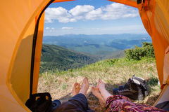 Beautiful mountain view from tourist tent Royalty Free Stock Image