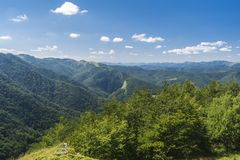 Beautiful mountain view from the Troyan area. Troyan Balkan is exceptionally picturesque and offers a combination of wonderful. Mountain scenery, fresh air stock photo