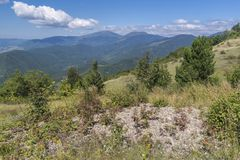 Beautiful mountain view from the Troyan Pass. Troyan Balkan is exceptionally picturesque and offers a combination of wonderful. Beautiful mountain view from the royalty free stock photos