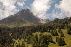 Beautiful mountain views from dowtown Davos, Switzerland Stock Photography