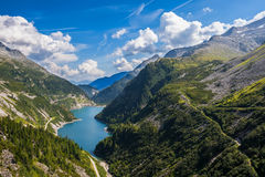 Beautiful mountain views - Maltatal, Austria. Mountain road at the dam in the river valley Malta, Austria Royalty Free Stock Image