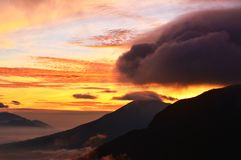 Beautiful mountain views. Sunrise and clouds stock images