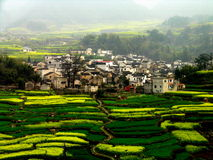 Beautiful Mountain Village. Picture shows a beautiful mountain village in China Stock Photo