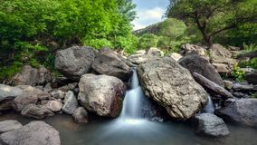 Beautiful mountain waterfall in the jungle forest stock video footage