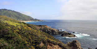 Beautiful Mountainous Pacific Ocean Coastline. Panoramic view of the mountainous northern California coastline along the Pacific Ocean between San Francisco and Stock Image