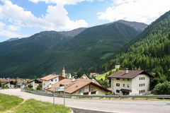 Beautiful mountainous village in Alps Stock Photo