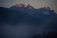 Beautiful mountains. Bavarian mountains touched by the warm colors of the sunrise Royalty Free Stock Photo