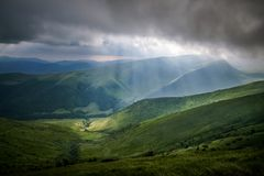 Beautiful mountains and blue sky in the Carpathians. Ukraine. stock images