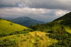 Beautiful mountains and blue sky in the Carpathians. Ukraine. royalty free stock photography