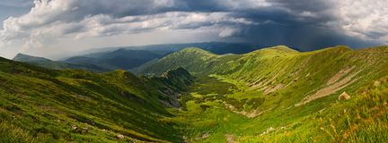 Beautiful mountains and blue sky in the Carpathians. Ukraine. stock image