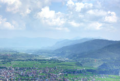 Beautiful mountains bounding the pokhara city. A view of Phokara valley photograph taken from Ananda Hill where Shanti Stupa is situated Stock Photography