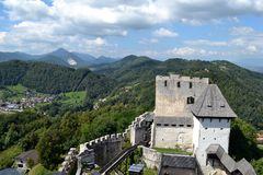 Castle in Celje, Slovenia. Beautiful mountains and castle view in Celje Stock Photography