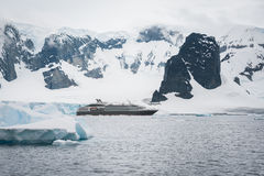 Beautiful mountains and cruise ship Royalty Free Stock Image