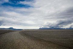 Beautiful mountains and dramatic sky along the road in Iceland Royalty Free Stock Images