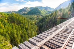 Beautiful mountains with green trees and railroad Royalty Free Stock Images