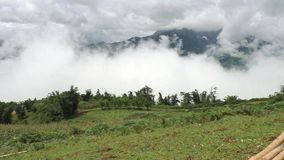 Beautiful mountains in highlands of Sapa in Vietnam. Beautiful cloudy mountainous view in highlands of Sapa in Vietnam, Asia stock footage