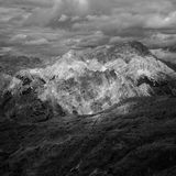 Beautiful mountains and hills shot in black and white stock photography