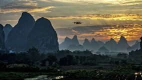 The beautiful mountains of Karst topography. In Yangshuo county of Guilin, Guangxi of China stock photos