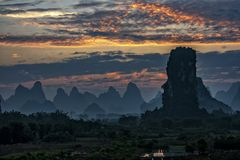 The beautiful mountains of Karst topography. In Yangshuo county of Guilin, Guangxi of China stock image