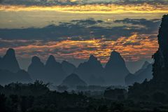 The beautiful mountains of Karst topography. In Yangshuo county of Guilin, Guangxi of China stock images