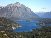 Beautiful Mountains and Lake. Spectacular view from the Cerro Campanario in Argentina stock image