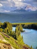 Canada, Banff National Park, Mountains Lake Scene royalty free stock images